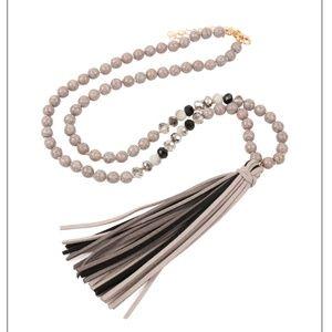 Gray Beaded Tassle Necklace!